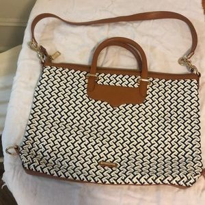 Rebecca Minkoff white and navy woven briefcase